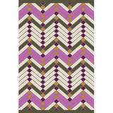 Wrought Studio™ Wellow Chevron Handwoven Cotton Pink/Gray/Beige Area Rug Cotton in Brown/Gray/Pink, Size 72.0 H x 48.0 W x 0.25 D in | Wayfair