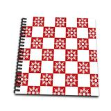 """3dRose Red and White Checkered Squares Christmas Snowflakes-Memory Book, 12 by 12"""" (db_59891_2)"""
