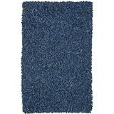 Pelle Leather Shag Rug, 30-Inch by 50-Inch, Blue