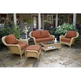 Darby Home Co Turbeville 6 Conversation Sofa Set w/ Cushions Wicker/Rattan in Red, Size 34.5 H x 59.0 W x 36.0 D in | Wayfair DBHC5782 27474868