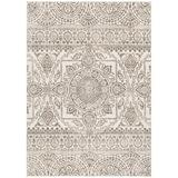 Mayberry Rug Augusta Geometric Gray Area Rug Polypropylene in Brown/Gray, Size 87.0 H x 63.0 W x 0.5 D in | Wayfair AU8635 5X8