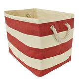 """DII Woven Paper Storage Basket or Bin, Collapsible & Convenient Home Organization Solution for Office, Bedroom, Closet, Toys, & Laundry (Medium - 15x14x10""""), Tango Red Rugby Stripe"""