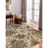 Bashian Valencia Collection AL101 5X7.6 Hand Tufted 100% Wool Area Rug, 5' x 7.6', Ivory