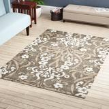 House of Hampton® Flanery Floral Beige Rug Polypropylene in Brown/White, Size 156.0 H x 114.0 W x 1.2 D in | Wayfair ALCT4984 28007390