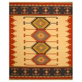 The Conestoga Trading Co. Southwestern Handmade Kilim Wool Yellow/Red/Black Area Rug Wool in Black/Red/Yellow, Size 120.0 H x 100.0 W x 0.25 D in