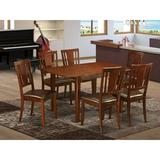 Wooden Importers Milan 7 - Piece Butterfly Leaf Rubberwood Solid Wood Dining Set Wood in Brown, Size 29.5 H in | Wayfair MLDU7-MAH-LC