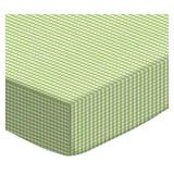 Sheetworld Gingham Jersey Knit Youth Bed Fitted Crib Sheet Cotton in Green, Size 33.0 W x 66.0 D in | Wayfair YB-GNG