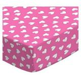 Sheetworld Primary Hearts on Woven Portable Mini Fitted Crib Sheet Cotton in Pink, Size 24.0 W x 38.0 D in | Wayfair PC-W565