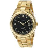 """Peugeot 14K Gold Plated""""Diamond"""" Luxury Dress Watch with Fluted Bezel and Calendar"""
