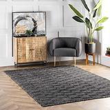 nuLOOM Agoja Hand Tufted Wool Rug, 4' x 6', Black