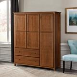"Grain Wood Furniture Shaker Wardrobe Armoire, Wood in Walnut, Size 72""H X 59""W X 21""D | Wayfair SH0904"