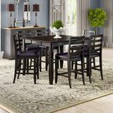 Red Barrel Studio® Krull 7 - Piece Counter Height Butterfly Leaf Rubberwood Solid Wood Dining SetWood/Upholstered Chairs in Brown, Size 36.0 H in