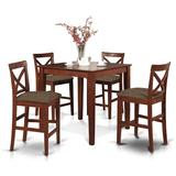 Red Barrel Studio® Great Divide 5 Piece Counter Height Pub Table Set, Wood/Solid Wood in Brown, Size Small (Seats up to 4) | Wayfair