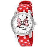 Disney Minnie Mouse Women's Silver Alloy Watch, Reversible Red with White Polka Dot Nylon Strap, W002877