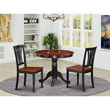 East-West Furniture Modern Dining Table Set- 2 Amazing Wooden Dining Chairs - A Gorgeous Dining Table- Wooden Seat - Cherry and Black Dining Table