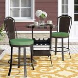 Alcott Hill® Stoneham 3 Piece Sunbrella Bar Height Dining Set w/ Cushions Metal in Brown, Size 35.62 H x 30.11 W x 30.11 D in   Wayfair