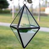 "WGV International Diamond Glass Terrarium, Glass/Metal in Gold/Black, Size 8""H X 4""W X 4""D | Wayfair GET0808BK"