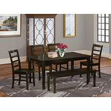 East West Furniture CAPF6-CAP-W 6 Pc set Table and 4 Dining Chairs and Bench, 6-piece