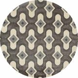 George Oliver West Hewish Geometric Gray/Cream Area Rug Polypropylene in Brown/White, Size 63.0 H x 63.0 W x 0.5 D in | Wayfair