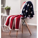 Chanasya US Flag Print Super Soft Sherpa Throw Blanket in Blue, Size 65.0 H x 50.0 W in | Wayfair US-FLAG