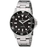 Peugeot Men's Sports Watch with Rotating Bezel Pro Dive, Black Dial & Stainless Steel Bracelet