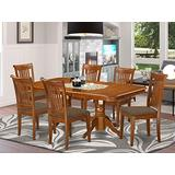 East West Furniture NAPO7-SBR-C 7-Piece Dining Set – 6 Dining Room Chairs and a Wooden Table - Rectangular Table Top – Slatted Back and Linen Fabric Seat (Saddle Brown Finish)