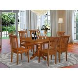 East West Furniture Kitchen table set 6 Amazing dining chairs - A Attractive kitchen table- Saddle Brown Color Wooden Seat Saddle Brown Butterfly Leaf round wooden dining table