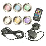 """Rainbow 1 1/2"""" Wide Silver Low Voltage 6-Pack LED Deck Light"""