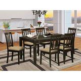 East West Furniture LYAN7-CAP-C 7-Piece Dining Set – Rectangular Top Dining Room Table – 6 Kitchen Chairs Slatted Back and Linen Fabric Seat (Cappuccino Finish)