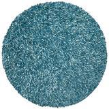 Aqua Shimmer Shag (2'x2') Round Rug