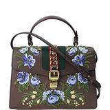 Gucci Sylvie Medium Top Handle Bag Brown Leather Blue Flower Italy Handbag New