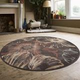 Wildon Home® Garda Floral Area Rug Polypropylene in Brown, Size 63.0 H x 63.0 W x 0.39 D in | Wayfair CST43230 30000080