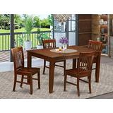 East West Furniture 5-Piece Dining Room Set Included a Rectangular Modern Dining Table and 4 Wood Dining Chairs - Solid Wood Mid Century Dining Chairs Seat & Slatted Back - Mahogany Finish