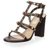 Valentino Women's Rockstud Rolling Sandal, Brown, 38.5 M EU/8.5 M US