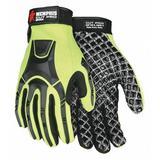 MCR SAFETY MC500L Hi-Vis Cut Resistant Coated Mechanics Gloves, A4 Cut Level,