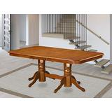 East West Furniture Butterfly Leaf Napoleon Table - Saddle Brown Table Top and Saddle Brown Finish Double Pedestal Legs Solid wood Structure Dinner Table