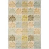 Martha Stewart Rugs Martha Stewart Sanctuary Floral Handmade Knotted Wool/Silk Oasis Area Rug Silk/Wool in Black, Size 69.0 H x 45.0 W x 0.3 D in