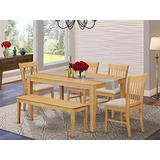East West Furniture CANO6-OAK-C 6 Pc Wooden Set – 4 Dining Chairs with Linen Fabric Seat and Slatted Back-Rectangular Top and 4 Legs Dining Room Table and Kitchen Bench (Oak Finish)