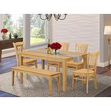 East West Furniture Mid-century Dining Table Set 6 Piece - Wooden Wood Dining Chairs Seat - Oak Finish Kitchen Table and Kitchen Bench