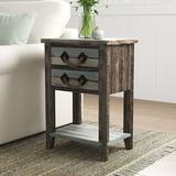 Beachcrest Home™ Norcroft End Table w/ Storage Wood in Blue/Brown/Gray, Size 26.0 H x 18.0 W x 13.0 D in   Wayfair SEHO5324 30304163