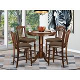 East West Furniture JACH5-MAH-C 5-Piece Dining Table Set - Round Top Dining Room Table - 4 Dining Chairs Slatted Back and Linen Fabric Seat (Mahogany Finish)
