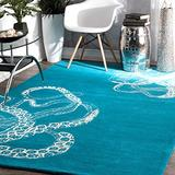 nuLOOM Octopus Tail Abstract Wool Area Rug, 4' x 6', Blue Waters