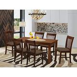 East West Furniture DUNO7-MAH-C 7 Pc Kitchen Set-Linen Fabric Dining Room Chairs Seat Rectangular Table Top and Wooden 4 Legs (Mahogany Finish), 7-piece
