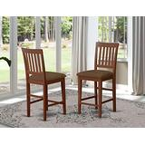 East West Furniture Vernon kitchen counter height chairs-Microfiber Upholstery Seat and Mahogany Solid wood Frame kitchen counter stools set of 2