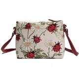 Signare Tapestry Crossbody Purse Small Shoulder Bag for Women with Red Ladybug and Daisy Design (XB02-LDBD)