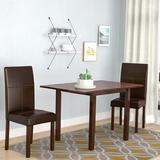 Brayden Studio® Lorenzen 3 Piece Drop Leaf Dining Set Wood/Upholstered Chairs in Brown, Size 29.12 H in | Wayfair BRYS1324 30347498