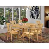 East West Furniture Kitchen dining table set 6 Wonderful wood chairs - A Lovely round dining table- Oak Color Wooden Seat Oak Butterfly Leaf dining room table
