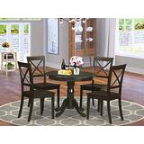 East-West Furniture Dining Room Table Set- 4 Wonderful Wood Dining Chairs - A Gorgeous Dining Room Table- Wooden Seat and Cappuccino Modern Dining Table