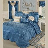 "Portia II Grande Bedspread Sapphire, King 24"" Drop, Sapphire"