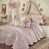 """Portia II Grande Bedspread Rose Quartz, King 24"""" Drop, Rose Quartz"""